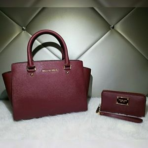 Michael Kors Maroon Selma With Wallet.